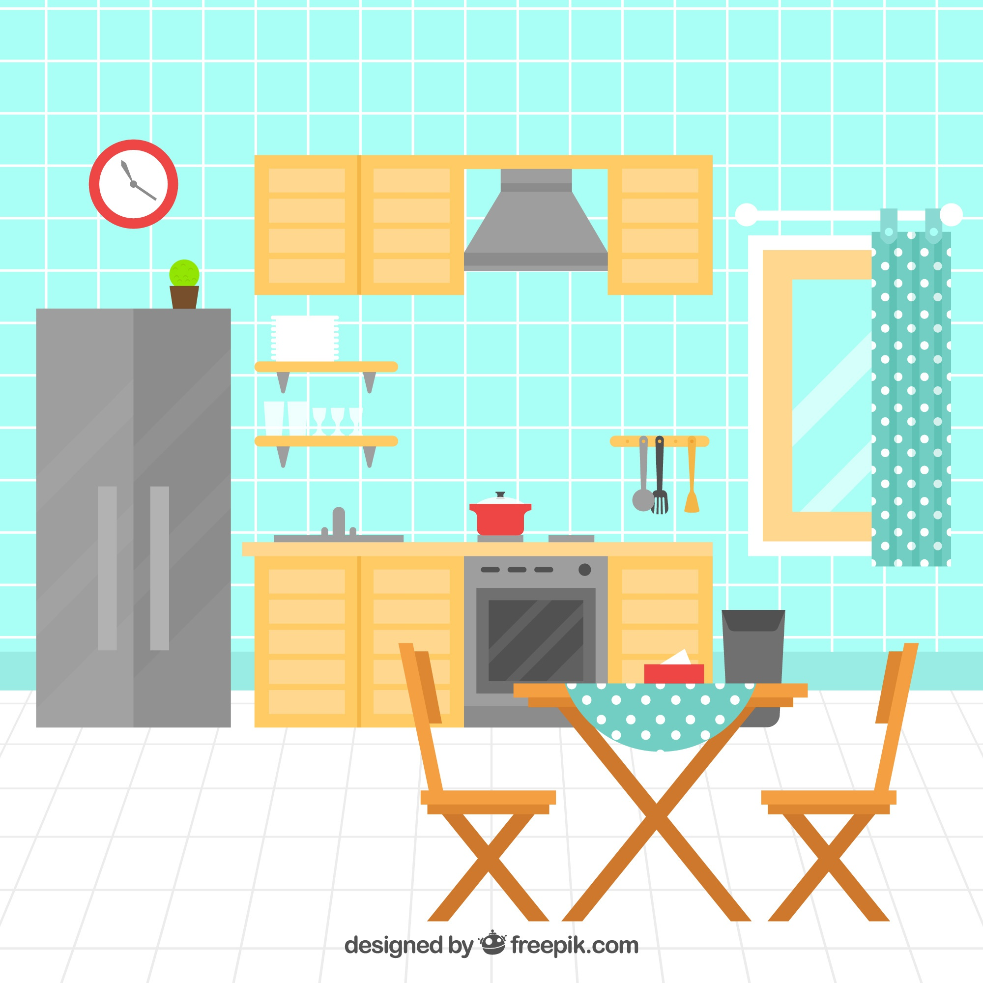 Flat kitchen with electrical appliances and wooden furniture