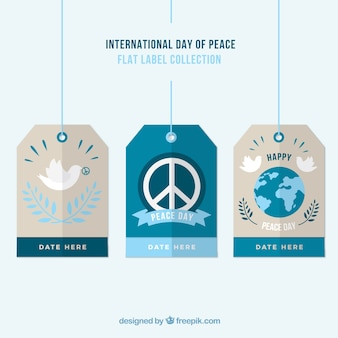 Flat labels peace day pack
