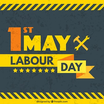 Flat labour day background with hammer and wrench