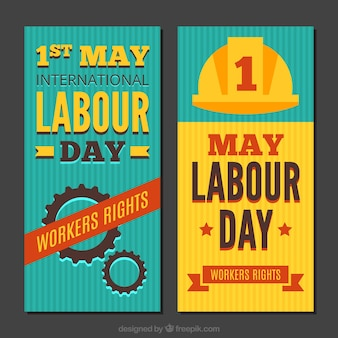 Flat labour day banners