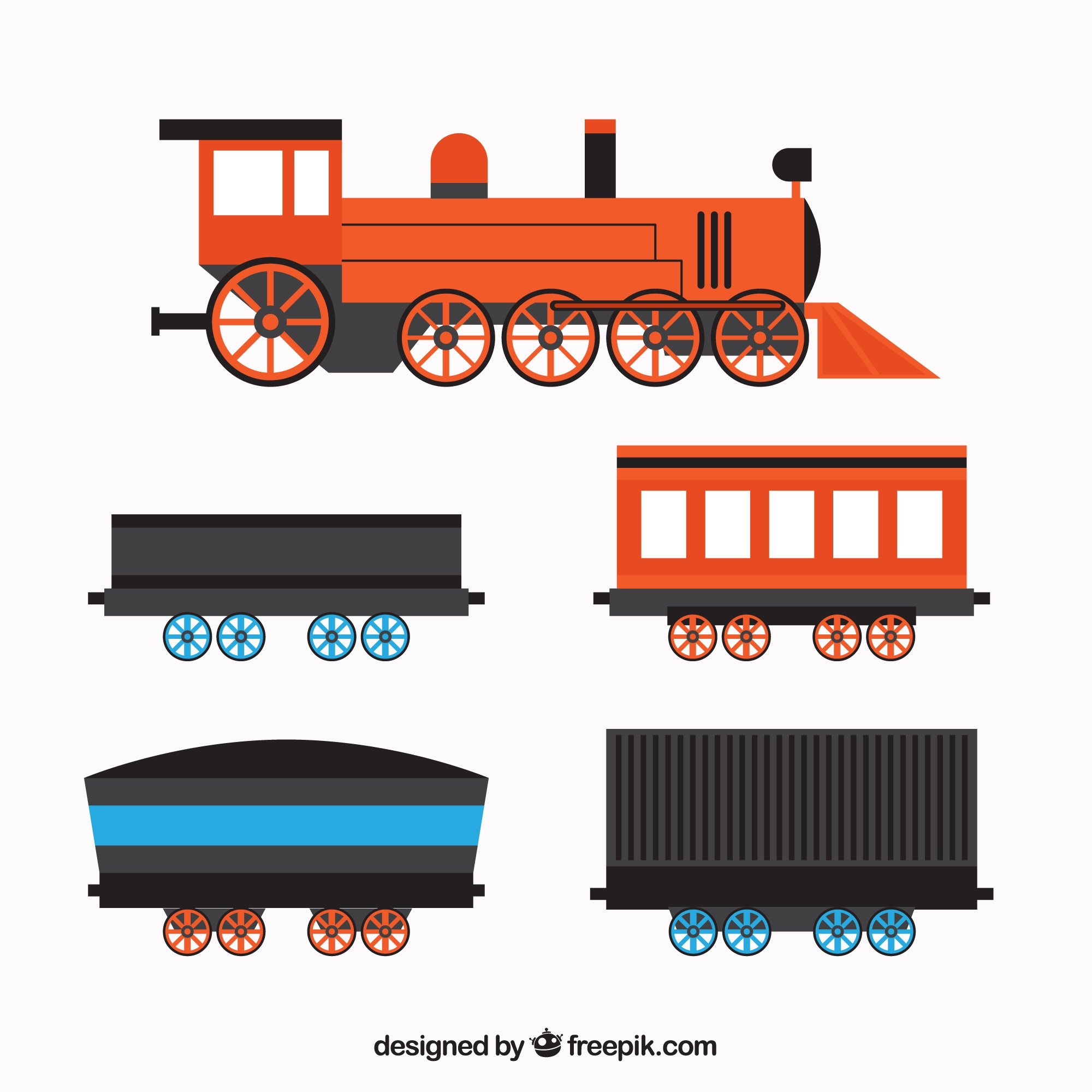 Flat locomotive with four wagons