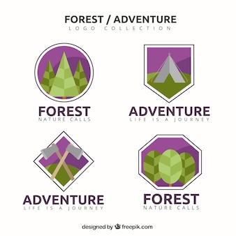 Flat logos for nature themes