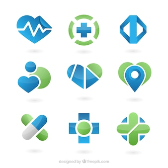 Flat medical logo templates