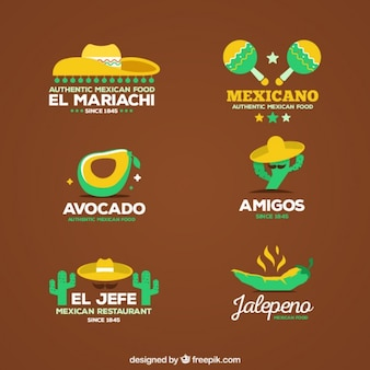Flat mexican logo restaurant set