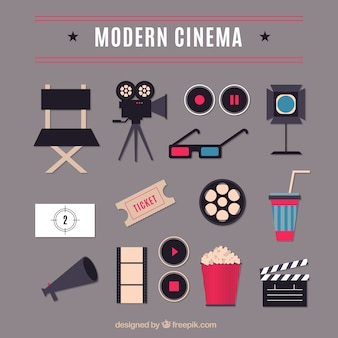 Flat modern cinema elements