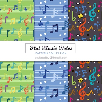 Flat music notes pattern collection