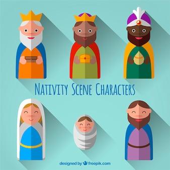 Flat nativity scene characters