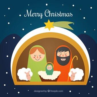 Flat Nativity Scene