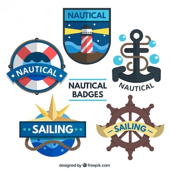 Flat nautical badges with elements