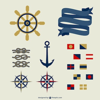 Flat nautical elements collection