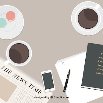 Flat newspaper background and coffee