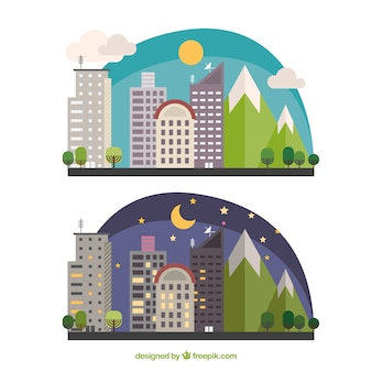 Flat night and day city skyline