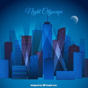 Flat Night Cityscape Background