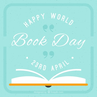 Flat open book of book day