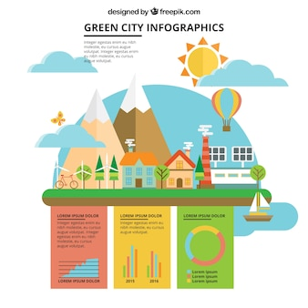 Flat organic city with infographic elements
