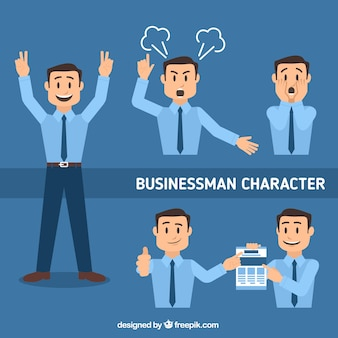 Flat pack of businessman character