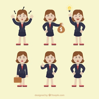 Flat pack of businesswoman character with different expressions