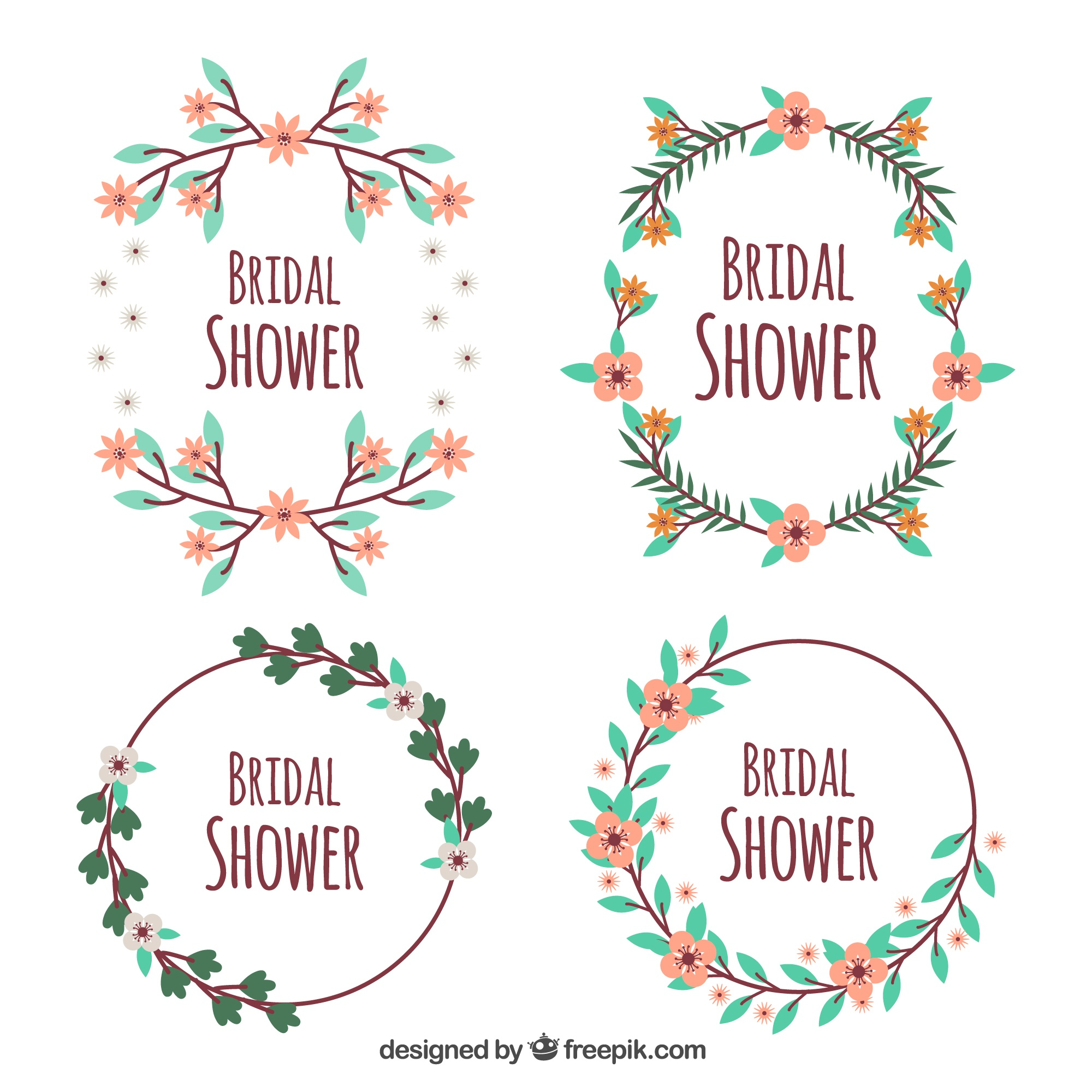 Flat pack of four bridal shower frames with cute flowers