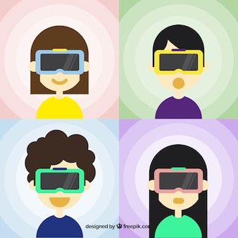 Flat pack of four characters with virtual glasses