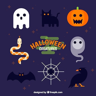 Flat pack of funny halloween elements