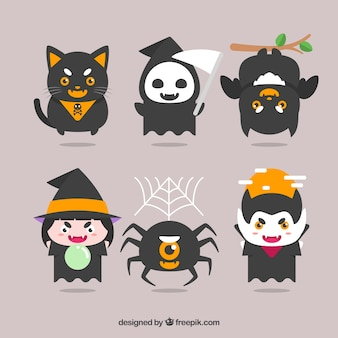 Flat pack of halloween characters