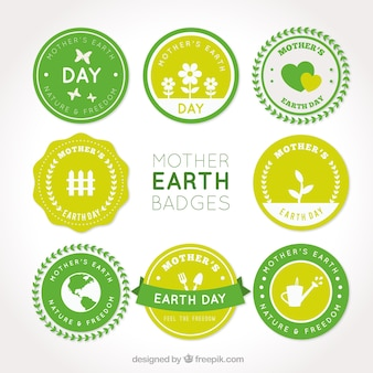 Flat pack of mother earth day badges in green tones
