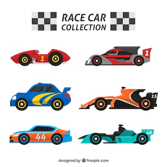 Flat pack of racing cars