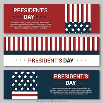 Flat pack of three banners for president's day