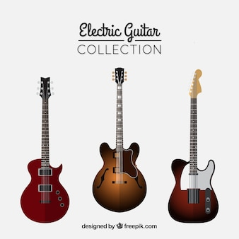 3つのエレクトリックギターのフラットパック