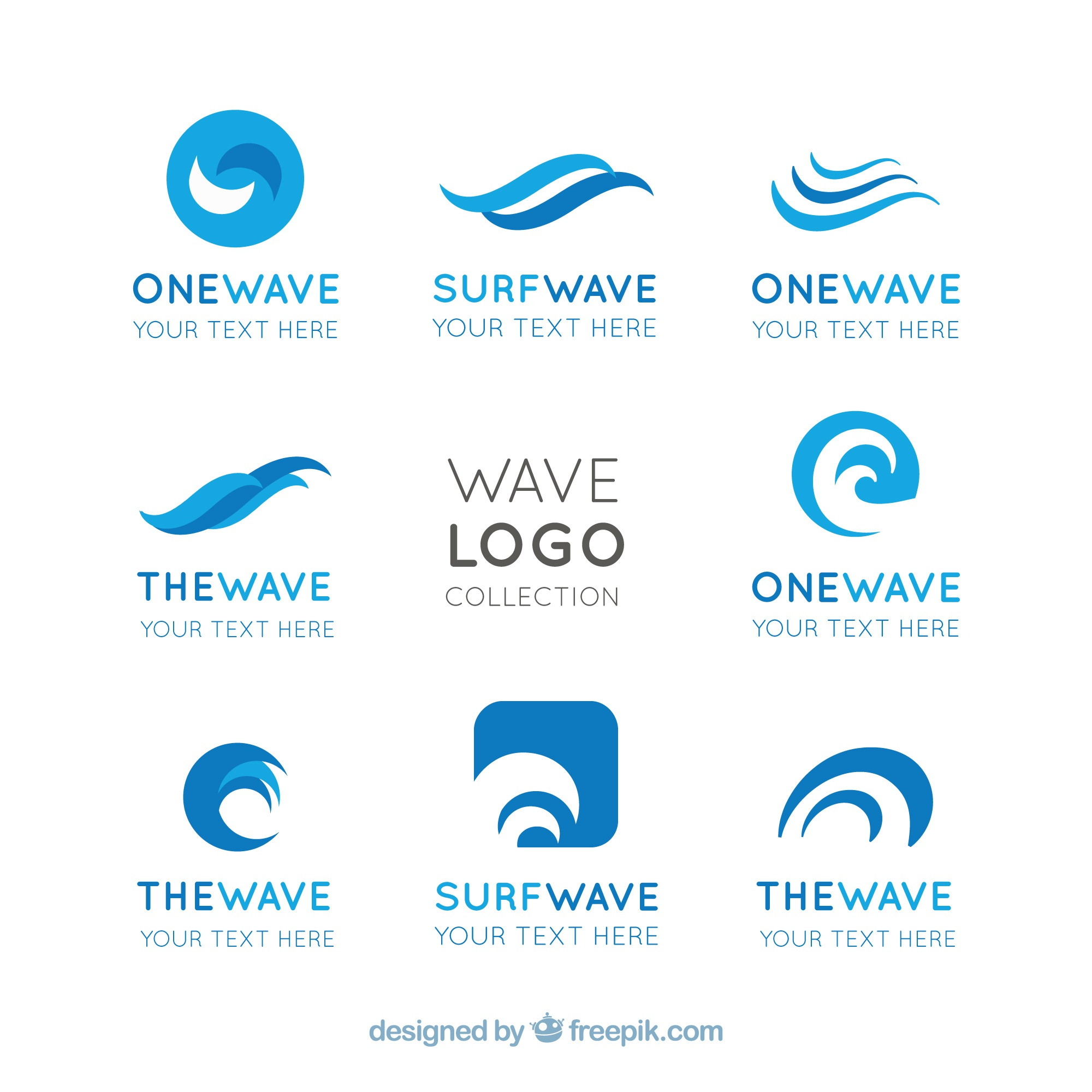 Flat pack of wave logos with abstract designs