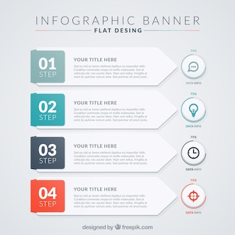 Flat pack with modern infographic banners