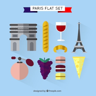 Flat Paris elements set