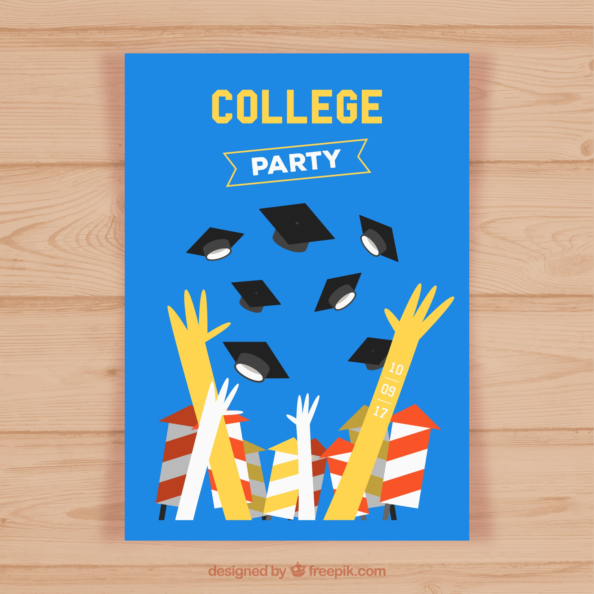 Flat party brochure with hands and graduation caps