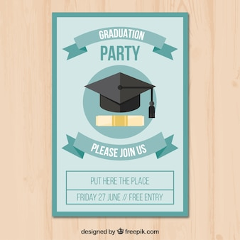 Flat party flyer with diploma and graduation cap