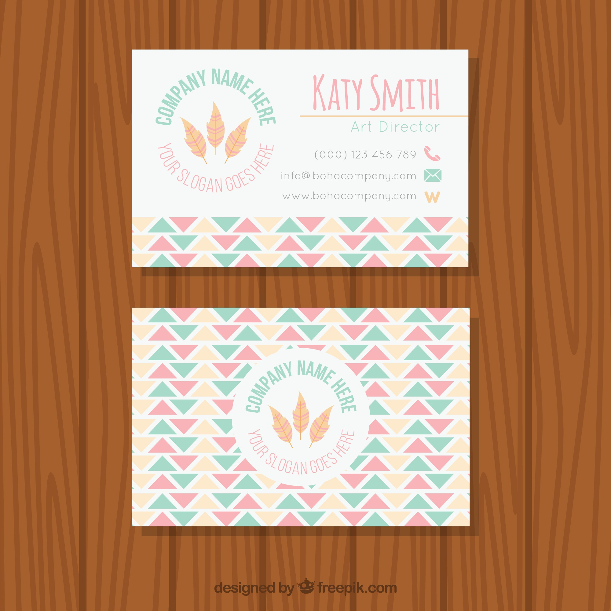 Flat pastel business card in boho style