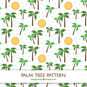 Flat pattern of suns and palm trees