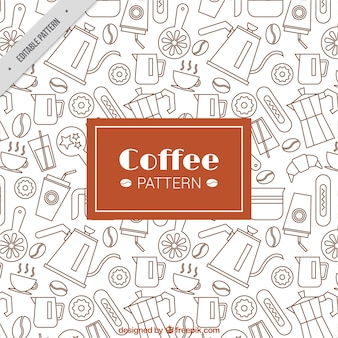 Flat pattern with coffee accessories