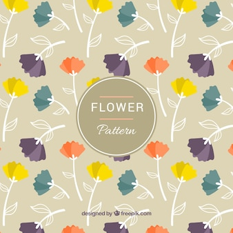 Flat pattern with flowers in different colors