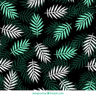 Flat pattern with green and white palm leaves