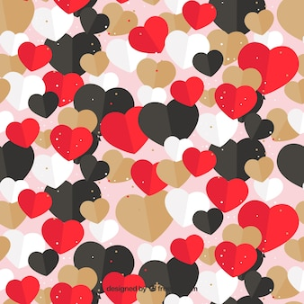 Flat pattern with hearts in different colors for valentine's day