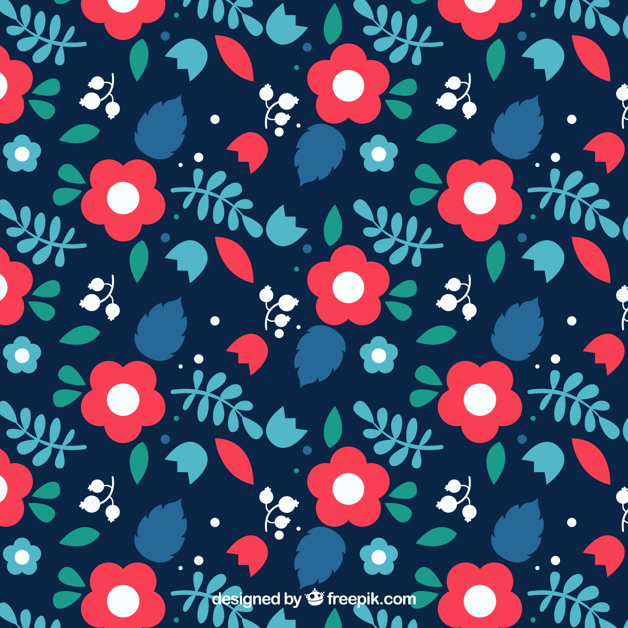 Flat pattern with red roses in flat design