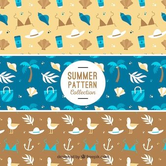 Flat patterns with decorative summer elements