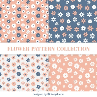 Flat patterns with flowers in pastel colors