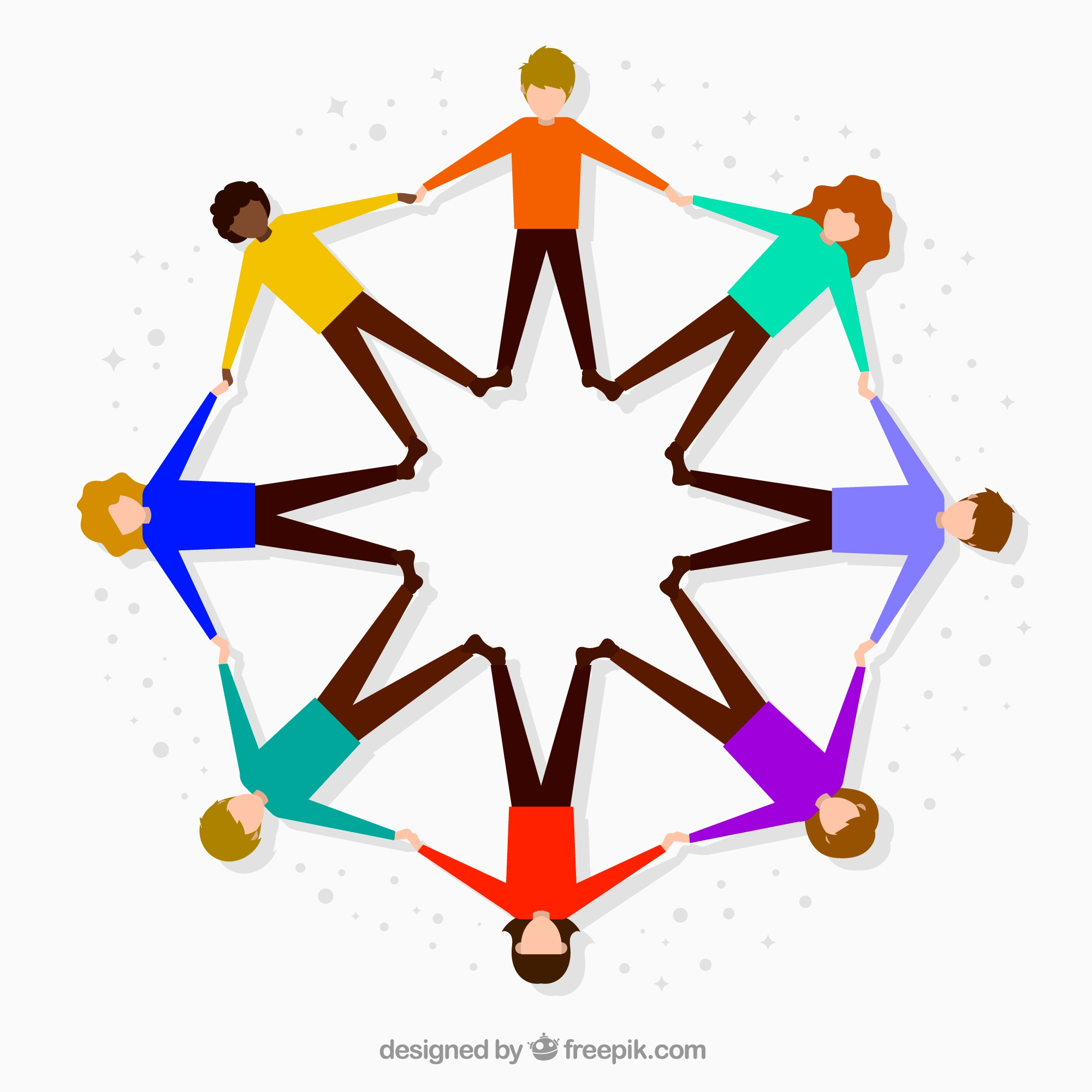 Flat people forming a circle with colorful style