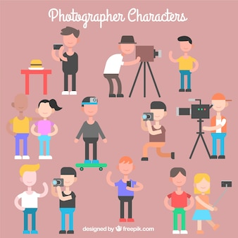 Flat photographer characters