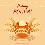 Flat pongal background with pot and rice