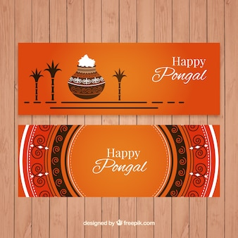 Flat pongal banners with round mandala and pot