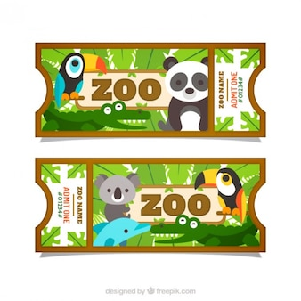 Flat pretty animals with leaves zoo tickets