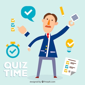 Flat quiz background with several elements