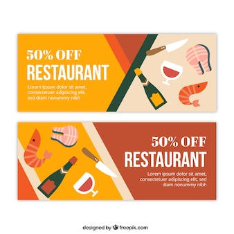 Flat restaurant banners with special discounts